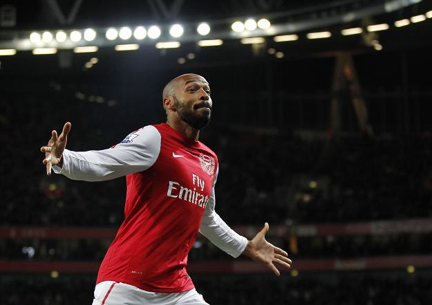Thierry Henry celebrating his goal against Leeds